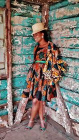 African Fashion: Mid Length Pleated A-Line Dress.
