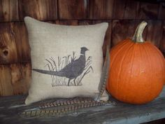 Hey, I found this really awesome Etsy listing at http://www.etsy.com/listing/113601261/burlap-pillow-pheasant-pillow-decorative