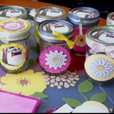 I recently made these for a friend's baby shower. Guests filled them with candy from our candy bar as their favors.