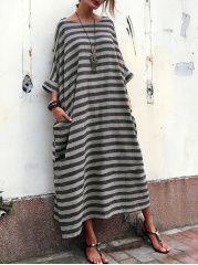 Oversized Striped Round Neck Pocket Maxi Dress