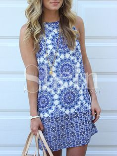 Blue White Sleeveless Vintage Print Dress -SheIn(Sheinside) Mobile Site
