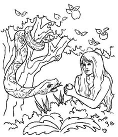 Adam And Eve The Serpent Pick Forbidden Apple In Story Coloring Page