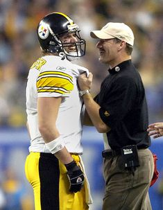 Best Coach/QB picture ever! Bill Cowher and Big Ben Roethlisberger after the Steelers won their 5th Super Bowl ring.