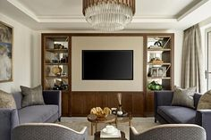 The 50+ Best Entertainment Center Ideas - Home and Design - Next Luxury Built In Tv Wall Unit, Built In Shelves Living Room, Modern Tv Wall Units, Basement Living Rooms, Living Room Wall Units, Living Room With Fireplace, Tv Cupboard Design, Living Room Entertainment Center, Entertainment Units