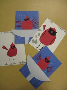 Charley Harper's images of animals and birds are the perfect subject for elementary students. Here are some examples of cardinals that the first graders have made in art class.