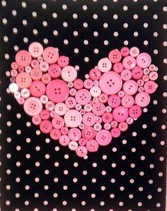 "11"" by 14"" Button Heart Wall Decor. $25.00, via Etsy."