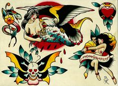 d98e8bd1b Flash 5 by Brian Kelly Nude Hula Dancer Sailor Tattoo Canvas Art Print. Traditional  Tattoo Flash ArtTraditional TattoosTraditional Tattoo DesignNeo ...