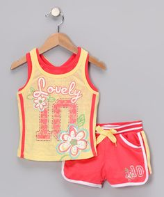Take a look at this Yellow 'Lovely' Vintage Tank & Shorts - Infant by Young Hearts on #zulily today!