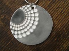 Grey-White Pendant round with Graphic Dot Design 70s BIG