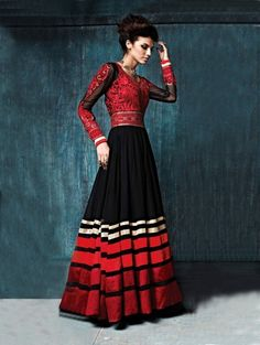 Red and Black Georgette Anarkali Suit with Embroidery Work