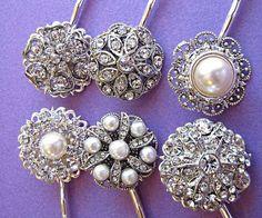 6 Bridesmaids Hair Pins, Wedding Hair Accessories, Pearl Crystal ,Bobby Pins, Bridal Hair, U-pins, Rhinestone Hair Clips