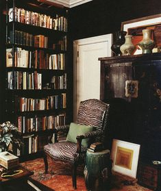 black ebony walls library den bathroom bedroom closet high glass matte chic…