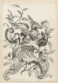 Winged Griffon on a Rocaille Bracket, from Premiere Partie Diverse Ornements