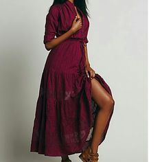 Free people long dress burgundy Gorgeous absolutely comfortable is xs but I am usually small or medium and this dress fits perfect Free People Dresses Maxi