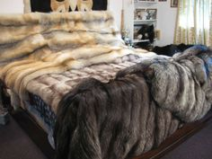 Cal Meir's Silver Fox Coats, Golden Island Fox and Russian Blue Fox Blankets - Not Photoshopped Faux Fur Blanket, Faux Fur Throw, Fur Bedding, Fur Rug, Fur Accessories, Soft Blankets, Cool Rooms, Cozy House, Bed Spreads