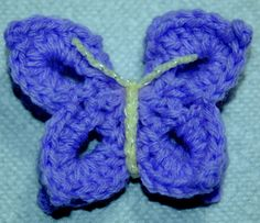 HANDMADE CROCHET 3 DIMENSIONAL BUTTERFLY IN LILAC WITH YELLOW BODY