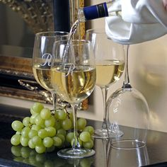 From Chardonnay to Pinot Grigio, these elegant glasses are excellent for all white wines. This set of personalized wine glasses are crafted from lead-free glass to form a delicate design, and with the engraving, at no additional cost, they are a great cho Types Of White Wine, Personalized Wine Glasses, Monogrammed Glasses, Personalized Gifts, White Wine Glasses, Wine Glass Set, Clear Glass, Wine Gifts, Wine Tasting
