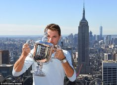 Stan Wawrinka kisses the US Open trophy during a photocall from the Rockefeller…