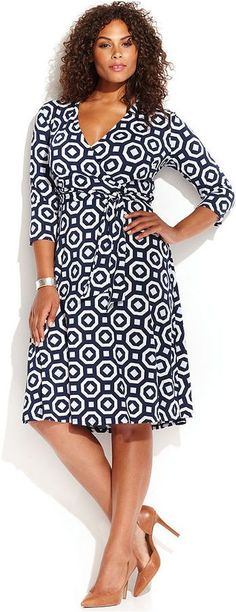 Plus Size Printed Faux-Wrap Dress #plus #size #fashion #plussizeoutfitsforwork