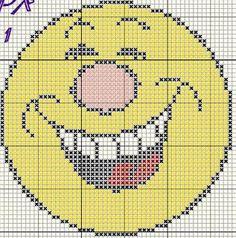 Borduren: Smiley-Emoticon ~Lachen b~ Plastic Canvas Coasters, Plastic Canvas Crafts, Plastic Canvas Patterns, Cross Stitch Designs, Cross Stitch Patterns, Cross Stitching, Cross Stitch Embroidery, Cross Stitch For Kids, Perler Patterns