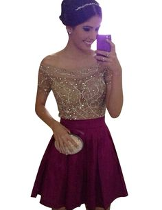 Elegant Off-the-shoulder Short Sleeves Burgundy Homecoming Dress with Beading