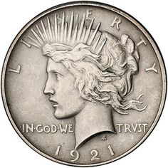 Peace Dollar - Minted from 1921 to 1935 the Peace Dollar is the last true one ounce silver dollar meant for circulation.