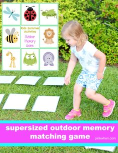 A SuperSized Outdoor Memory Matching Game that is a PERFECT game for outdoor play, or even for those rainy days you have to stay inside. This would be cute in Primary Fun Activities For Kids, Preschool Activities, Games For Kids, Kid Activites, Kid Games, Indoor Activities, Physical Activities, Outdoor Learning, Kids Learning