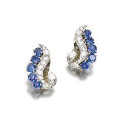 A pair of sapphire and diamond ear clips by Van Cleef & Arpels, 1950's.