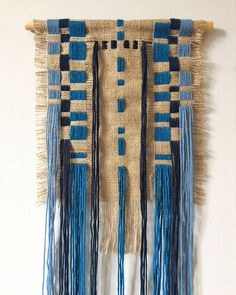 embroidered wall hanging burlap embroidery with blue yarn image 1 Macrame Wall Hanging Patterns, Weaving Wall Hanging, Weaving Art, Tapestry Weaving, Geometric Embroidery, Embroidery Art, Burlap Wall Hangings, Yarn Images, Colorful Tapestry