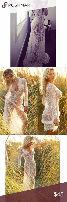 For him ..☆ White Sheer Lace Maxi Dress Boho Chic Cover up Dress Eyelash White Lace Cover Up Long Lace Maxi Dress, Beach Cover Up, Bikini Cover Up, All White Lace Slip On, Honeymoon lingerie   To mesmerize someone on a late night or to use on the beach ☆ maternal dress gown  V Neck Floor Length Fits true to size Polyester, Lace No closure Slip-on. Stretch at seam of bust   For rush order, please feel free to contact me. other please allow average 3 days for me to prepare and ship :) Dresses…