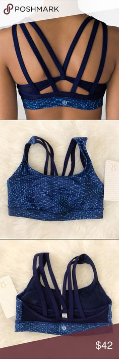 Lululemon Energy Bra Exhale 6, Snake Blue Brand NWT Lululemon Energy Bra Exhale in Samba Snake/Blue Hero. Size 6. I'm a D cup...too snug. Price firm unless bundled. Retails for $54. lululemon athletica Intimates & Sleepwear Bras