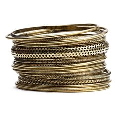 Stephan & Co. Burnished Bangles Set ($14) ❤ liked on Polyvore featuring jewelry, bracelets, accessories, gold, schmuck, women, bangle bracelet, bangle jewelry, hinged bracelet and hinged bangle