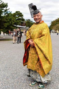 A man dressed in kariginu Heian-period costume
