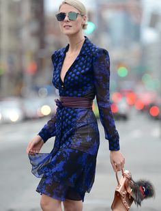 Sofie Valkiers wearing DVF on the streets in New York.