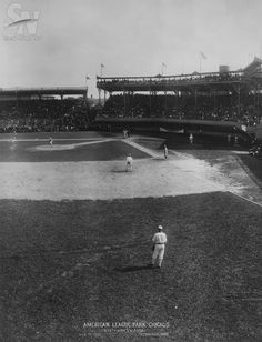The park's name was later changed to Comiskey Park. Chicago White Sox Park is seen in the these photos taken in (Sporting News Archives) Baseball Scoreboard, Baseball Park, Baseball Pictures, Baseball Quotes, Baseball Stuff, New York Stadium, Braves Game, White Sox Baseball, My Kind Of Town
