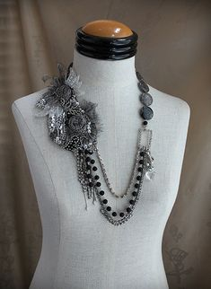 LUNA Silver Black Collage Statement Necklace by carlafoxdesign, $275.00