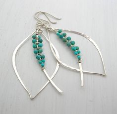 peruvian beaded jewelry | Peruvian Turquoise Tusk Earrings / Sarah Hickey Jewellery