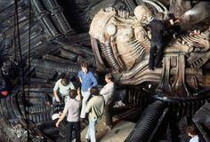 Giger on the set of Alien 1979 Alien Film, Alien 1979, Giger Art, Hr Giger, Harry Dean Stanton, Sci Fi Kunst, Giger Alien, 70s Sci Fi Art, Den Of Geek