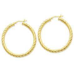 Sterling Silver Gold-flashed Open Turned Twist 45mm Hoop Earrings Jewelry Adviser Hoop Earrings. $66.38. Save 60% Off!