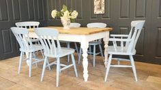 5ft x 3ft shabby chic reclaimed farmhouse table 6 chairs