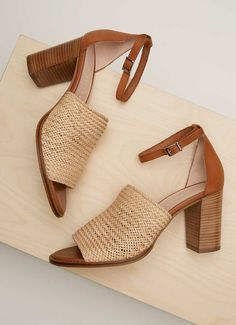 Layla Natural Woven Sandal Tan Leather, Everyday Fashion, Block Heels, Heeled Mules, Espadrilles, Sandals, Stylish, How To Wear, Neutral