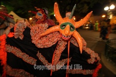Costumed Vejigantes dressed in traditional handmade papier-mache masks parade thought the streets during the Ponce Carnival held for the past 151-years to mark the advent of Lent in the southern city of Ponce, Puerto Rico.