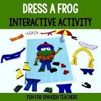 Dress-A-Frog {Props} You can use these materials to support your clothes and weather unit or simply as part of your calendar routine. You may ask a volunteer to pick a weather card and frog the bear appropriately for the weather. A black and white version Preschool Spanish, Spanish Teaching Resources, Elementary Spanish, Spanish Lessons, Learning Spanish, Spanish 1, Weather Song, Weather Cards, Weather Unit