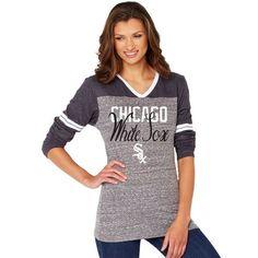 Chicago White Sox Soft As A Grape Women's Bullpen Color Block V-Neck Long Sleeve T-Shirt - Black/Gray - $33.99