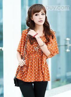 セレブ韓国スタイルショートスリーブ水玉シフォンバットスリーブスカート
