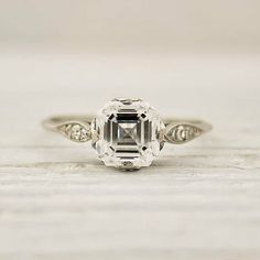 antique Tiffany & Co asscher cut diamond ring. I like how the setting prongs are placed so it looks like an asscher and not a princess cut.