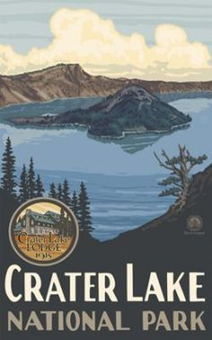 Landmark in Oregon: Crater Lake National Park is a United States National Park located in southern Oregon. Established in Crater Lake National Park is the fifth oldest national park in the United States and the only national park in Oregon Crater Lake Lodge, Crater Lake Oregon, Crater Lake National Park, National Park Posters, National Parks Usa, Lake Park, Park Lodge, Vintage Travel Posters, Retro Posters