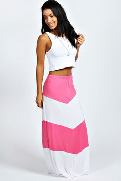 Boohoo Womens Misha Large Stripe Jersey Maxi Skirt - v stripe in lipstick pink and white