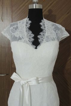 Cap Sleeves Lace Wedding Dress Elegant V-neck See by harsuccthing