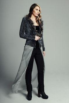 MAISON CYMA - L'Attentionnée // Velvet cardigan endowed with detachable recycled silver fox collar and veil.  #fashion #readytowear #recycledfur #fur #ootd #designer #fallfashion #clothes #clothing